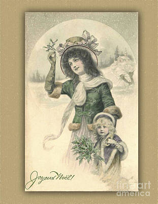 Digital Art - French Mother And Child Christmas Card by Melissa Messick