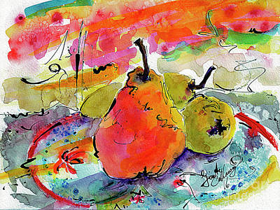Painting - French Pears Watercolor And Ink Whimsical Art by Ginette Callaway