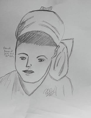 Drawing - French Peasant Girl by Roger Cummiskey