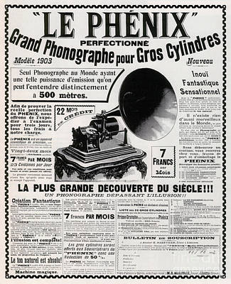 Gramophone Wall Art - Drawing - French Phonograph Advert, 1903 by French School
