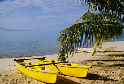 Double Hulled Canoe Photograph - French Polynesia, Rangiro by Mary Van de Ven - Printscapes