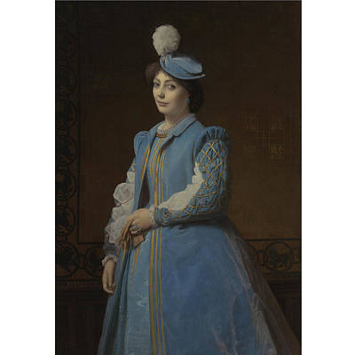 1819-1901 Painting - French Portrait Of A Lady In Blue by Charles
