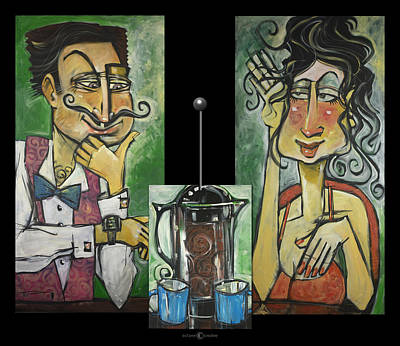 Painting - French Press Couple Triptych by Tim Nyberg