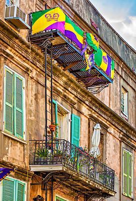 Mardi Gras Photograph - French Quarter Architecture - Mardi Gras by Steve Harrington
