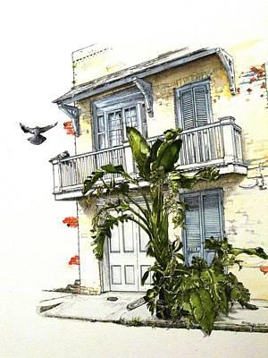 Banana Drawing - French Quarter Crib by D K Betts