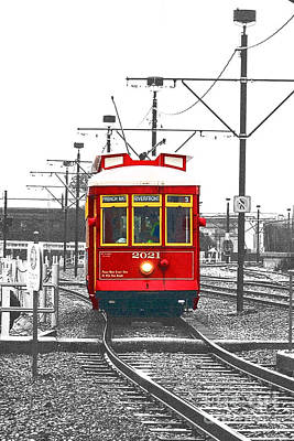 French Quarter French Market Cable Car New Orleans Color Splash Black And White With Film Grain Art Print