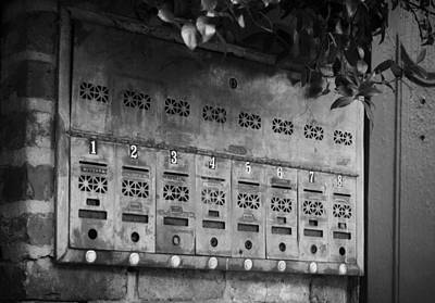 New Orleans Photograph - French Quarter Mail Boxes In Black And White by Greg Mimbs
