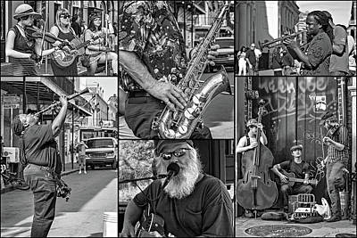 Saxophone Photograph - French Quarter Musicians Collage 2 Bw by Steve Harrington