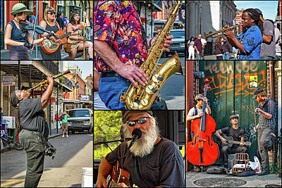 Saxophone Photograph - French Quarter Musicians Collage 2 by Steve Harrington