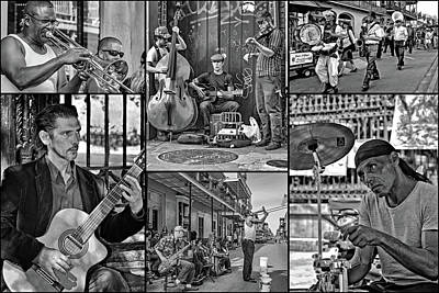 Saxophone Photograph - French Quarter Musicians Collage Bw by Steve Harrington