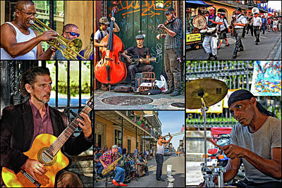 Saxophone Photograph - French Quarter Musicians Collage by Steve Harrington