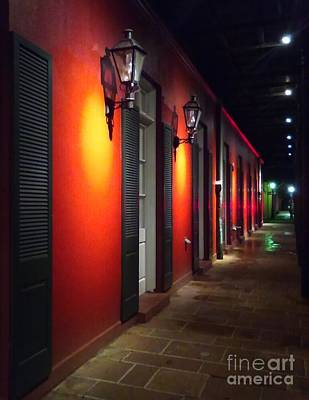 Photograph - French Quarter Night Scene In New Orleans Louisiana by Michael Hoard
