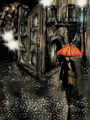 Digital Art - French Quarter Rain by Darren Cannell
