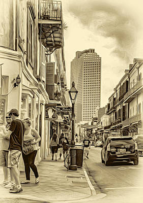 French Signs Digital Art - French Quarter Sidewalk 2 - Sepia by Steve Harrington