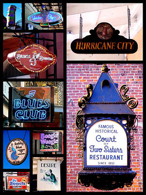 Photograph - French Quarter Sign Collage by Kathy K McClellan