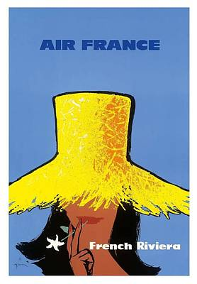 French Riviera South Of France Vintage Airline Travel Poster Art Print