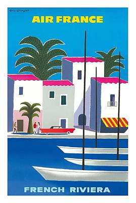 St.tropez Digital Art - French Riviera Vintage Airline Travel Poster By Guy Georget by Retro Graphics