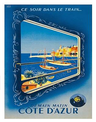 St.tropez Digital Art - French Riviera Vintage Railroad Travel Poster By Roland Hugen by Retro Graphics