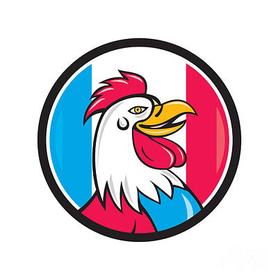 french rooster head france flag circle cartoon digital art by rh fineartamerica com France Clip Art Cartoon Rooster Clip Art