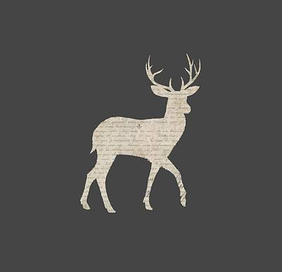 Deer Digital Art - French Script Stag by Amanda Lakey