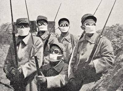 Chemical Drawing - French Soldiers Wearing Gas Mask In by Vintage Design Pics