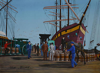 Scow Painting - French Square Rigger Bayonne At Howard Street Wharf, San Francisco by Clinton Cheatham