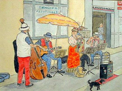 Painting - French Street Musicians by Peter Farrow