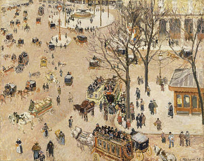 Streetscape Painting - French Theatre Square by Camille Pissarro