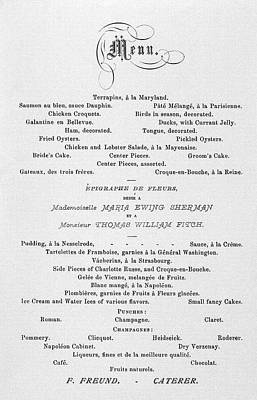 Photograph - French Themed Wedding Menu  1874 by Daniel Hagerman