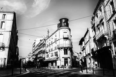French Town In Mono Art Print