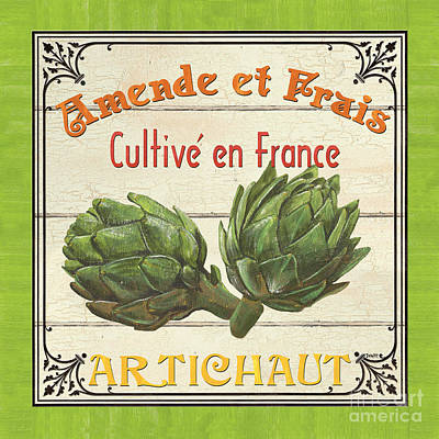 Artichoke Painting - French Vegetable Sign 2 by Debbie DeWitt