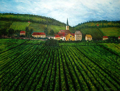 French Village In The Vineyards Art Print by Nancy Mueller