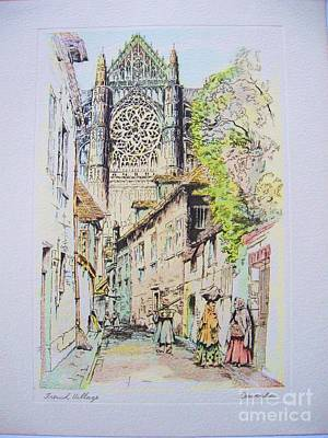 Painting - French Village by Works on paper