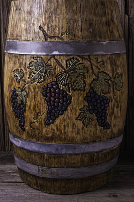 Hand Carved Photograph - French Wine Barrel With Grapes by Garry Gay
