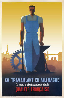 French Workers In Germany 1943 Art Print by Daniel Hagerman
