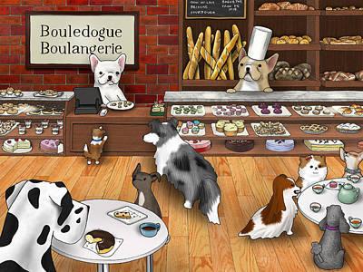 Puppy Digital Art - Frenchie Bakery by Douglas Mahoney