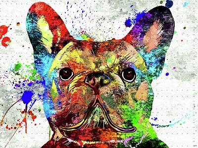 Watercolor Pet Portraits Mixed Media - Frenchie Colored Grunge by Daniel Janda