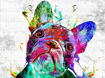 Abstract Of Dogs Mixed Media - Frenchie Grunge 3 by Daniel Janda