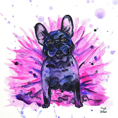 Painting - Frenchie In Tutu by Zaira Dzhaubaeva