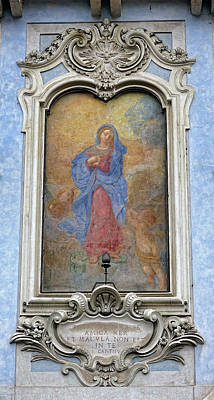 Photograph - Fresco Of Madonna In The Rotonda Where The Pantheon Is Located In Rome Italy by Richard Rosenshein