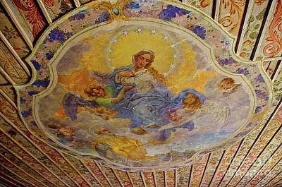 Photograph - Frescoes On The Ceiling Of Wooden Church In Gasawa Poland by Elzbieta Fazel