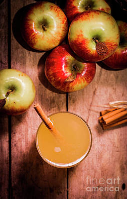 Organic Photograph - Fresh Apple Cider With Cinnamon Sticks And Apples by Jorgo Photography - Wall Art Gallery