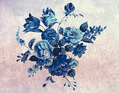 Decorating Mixed Media - Fresh Blue Vintage Floral by Georgiana Romanovna