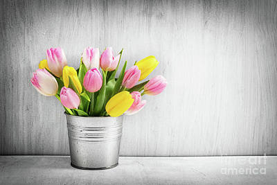 Photograph - Fresh Bouquet Of Tulips In A Metal Pot On Rustic Wood. by Michal Bednarek