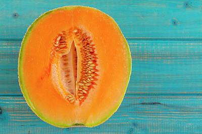 Cantaloupe Photograph - Fresh Cantaloupe Half With Seeds by Teri Virbickis