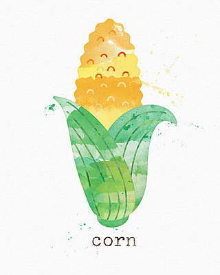 Vegetables Mixed Media - Fresh Corn by Linda Woods