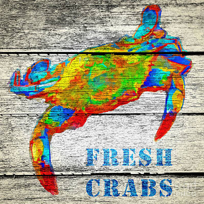 Restaurant Signs Painting - Fresh Crabs by Edward Fielding