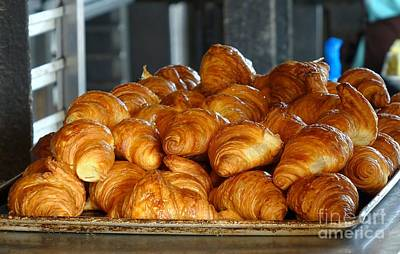 Photograph - Fresh Croissant Pastry On A Tray by Yali Shi