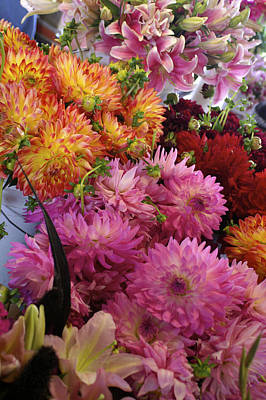 Photograph - Fresh Cut Flowers At The Public Market by Henri Irizarri