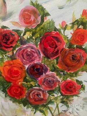 Painting - Fresh Cut Roses by Trilby Cole